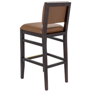 Walnut Wood Connor Restaurant Bar Stool with Upholstered Back and Seat