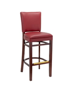 European Beechwood Commercial Barstool with Upholstered Seat in Mahogany (Front)