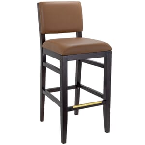Walnut Wood Connor Restaurant Bar Stool with Upholstered Back and Seat (Front)