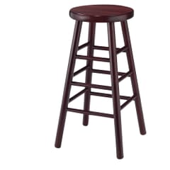 Traditional Backless Commercial Bar Stool in Dark Mahogany