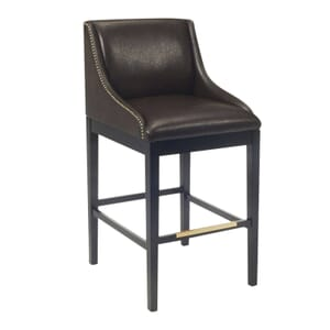Black Wood Bentley Restaurant Bar Stool with Brown Vinyl Seat, Back, and Sides with Nail Trim (front)