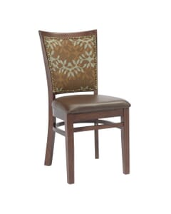 Fully Upholstered Solid Wood Restaurant Side Chair with Nailhead Trim in Mahogany (front)