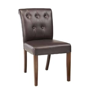 Fully Upholstered Lotus Chair with Black Tufted Back Upholstery in Dark Mahogany (Front)