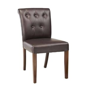Fully Upholstered Lotus Chair with Brown Tufted Back Upholstery in Walnut (Front)