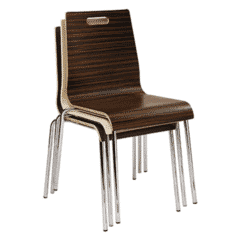 Sandalwood Stackable Metal Chair with Plywood Seat and Back