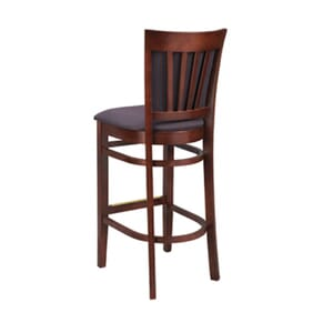 Fully Upholstered European Beechwood Commercial Side Bar Stool with Nailhead Trim in Walnut