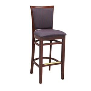 Fully Upholstered European Beechwood Commercial Side Bar Stool with Nailhead Trim in Walnut (front)