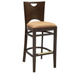 Walnut Wood Commercial Bar Stool with Upholstered Seat