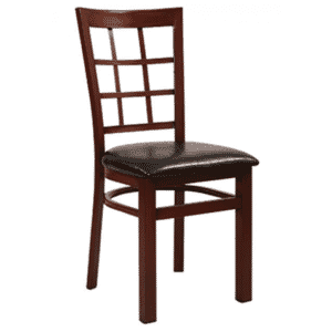 Mahogany Steel Window-Back Restaurant Chair with Upholstered Seat (front)