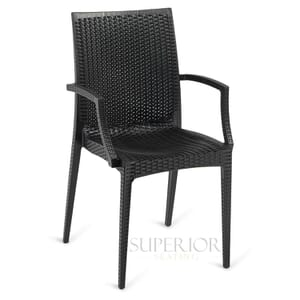 Wicker-Look Outdoor Stackable Plastic Chair with Arms in Black