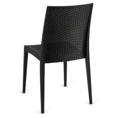 Wicker-Look Outdoor Stackable Plastic Chair in Black