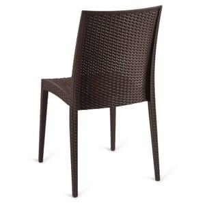 Wicker-Look Outdoor Stackable Plastic Chair in Brown