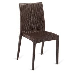 Wicker-Look Outdoor Stackable Plastic Chair in Brown (Front)