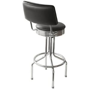 Retro Chrome Upholstered Swivel Barstool