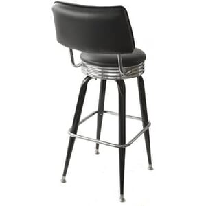 Retro Black Vinyl Swivel Barstool