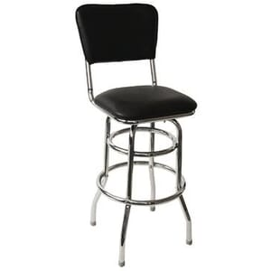 Retro Chrome Round Commercial Bar Stool with Upholstered Seat and Back