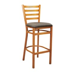 Cherry Steel Ladderback Restaurant Bar Stool with Upholstered Seat