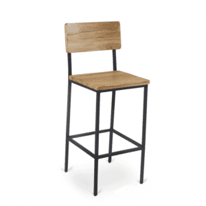 Reclaimed Wood Industrial Steel Frame Restaurant Bar Stool in Natural