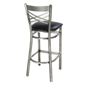 Clear Coat Distressed Finish Steel Cross-Back Restaurant Bar Stool with Upholstered Seat