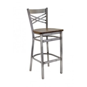 Clear Coat Distressed Finish Steel Cross-Back Restaurant Bar Stool with Upholstered Seat (front)