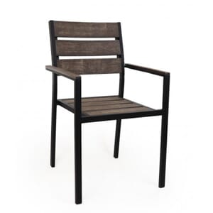 Outdoor Restaurant Chair with Arms - Brushed Brown Synthetic Wood Back and Seat and Black Frame