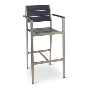 Synthetic Black Wood Outdoor Bar Stool with Brushed Aluminum Frame and Arms