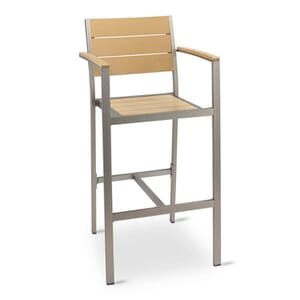 Outdoor Restaurant Bar Stool with Arms - Tan Synthetic Wood Back and Seat and Brushed Aluminum Frame