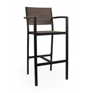 Outdoor Restaurant Bar Stool with Arms - Brushed Brown Synthetic Wood Back and Seat and Black Frame