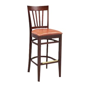 European Beechwood Commercial Bar Stool With Wood Back And Upholstered Seat in Walnut (front)