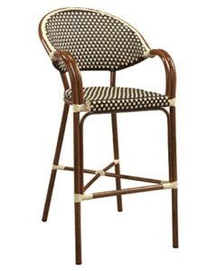 Outdoor Aluminum Bamboo-Look Arm Bar Stool in Brown