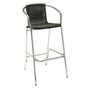 Aluminum and Wicker Patio Bar Stool in Black