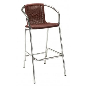 Aluminum and Wicker Patio Bar Stool in Burgundy