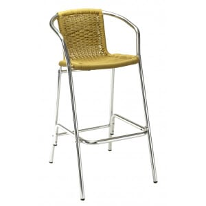Aluminum and Wicker Patio Bar Stool in Tan