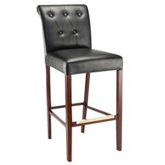 Fully Upholstered Lotus Bar Stool with Tufted Back Upholstery in Walnut
