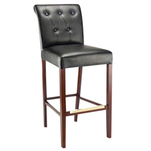 Fully Upholstered Lotus Bar Stool with Tufted Back Upholstery in Walnut (front)