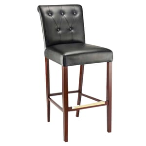 Fully Upholstered Lotus Bar Stool with Tufted Back Upholstery in Dark Mahogany (front)