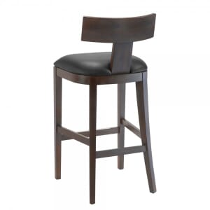 Espresso T-Back Bar Stool With Upholstered Seat