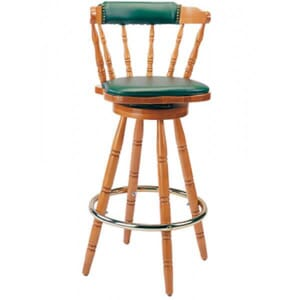 Captain's Mate Swivel Barstool with Upholstered Back and Seat in Natural Finish
