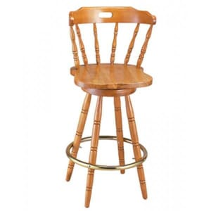 Captain's Mate Swivel Bar Stool with Solid Beech Wood Saddle Seat in Natural Finish