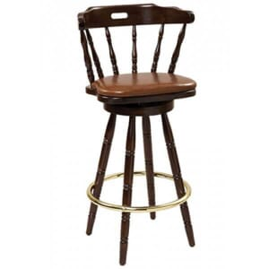 Captain's Mate Swivel Barstool with Upholstered Seat in Walnut Finish