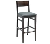Espresso Wood Square Back Upholstered Commercial Bar Stool