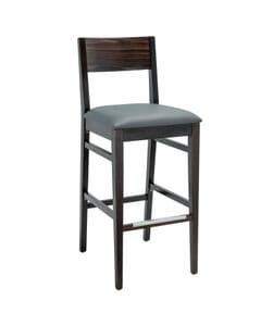 Espresso Wood Square Back Upholstered Commercial Bar Stool (Front)
