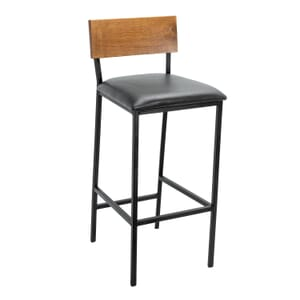 Upholstered American Red Oak Wood Industrial Steel Frame Restaurant Bar Stool in Walnut (Front)