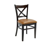Espresso Wood Cross-back Commercial Chair with Upholstered Seat (Front)