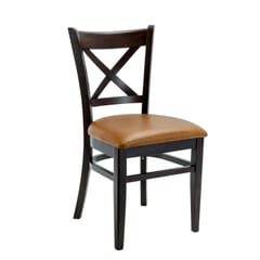 Solid Beech Wood Cross-back Commercial Chair in Espresso