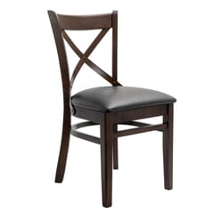 Solid Wood Farmhouse Cross-Back Commercial Chair in Walnut