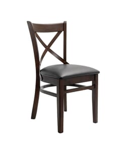 Walnut Wood Farmhouse Cross-Back Commercial Chair with Upholstered Seat (Front)