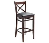 Walnut Wood Farmhouse Cross-Back Commercial Bar Stool - EXCLUSIVE!