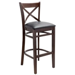 Solid Wood Farmhouse Cross-Back Commercial Bar Stool in Walnut
