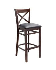 Walnut Wood Farmhouse Cross-Back Commercial Bar Stool with Upholstered Seat (Front)